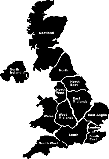 Map of the UK split into regions